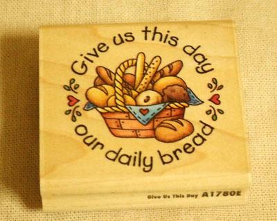 パン籠柄の木製スタンプ