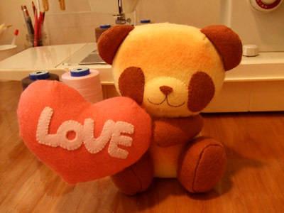 Loveパンちゃんイチゴ/焼きたてパンダのぬいぐるみ