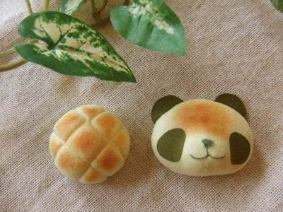 抹茶メロンパン/焼きたてパンダのブローチセット