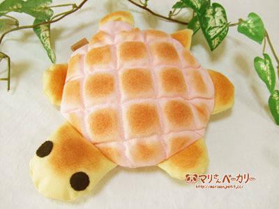 かめさんのふかふかポーチ/いちごメロンパン